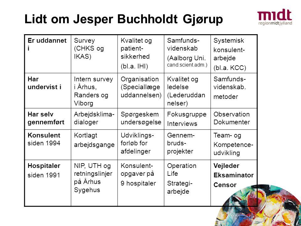 Lidt om Jesper Buchholdt Gjørup Er uddannet i Survey (CHKS og IKAS) Kvalitet og patient- sikkerhed (bl.a. IHI) Samfunds- videnskab (Aalborg Uni. cand.