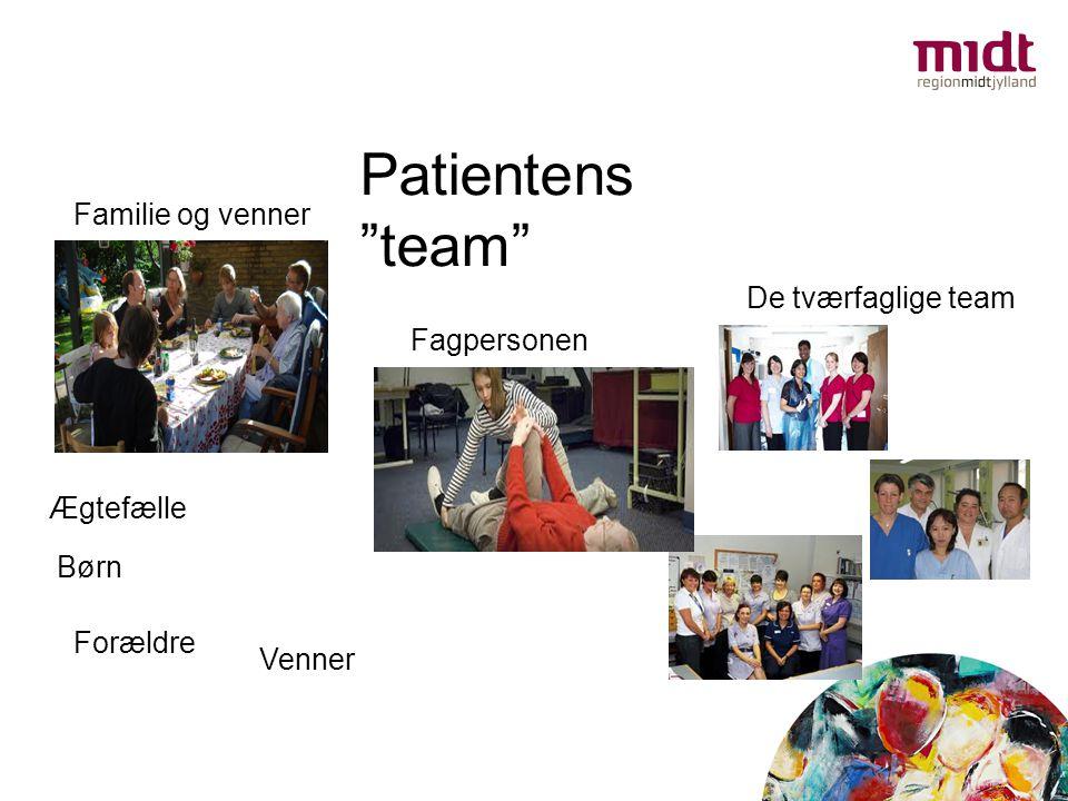 """Familie og venner De tværfaglige team Fagpersonen Patientens """"team"""" Ægtefælle Børn Forældre Venner Sygeplerske Terapeut"""