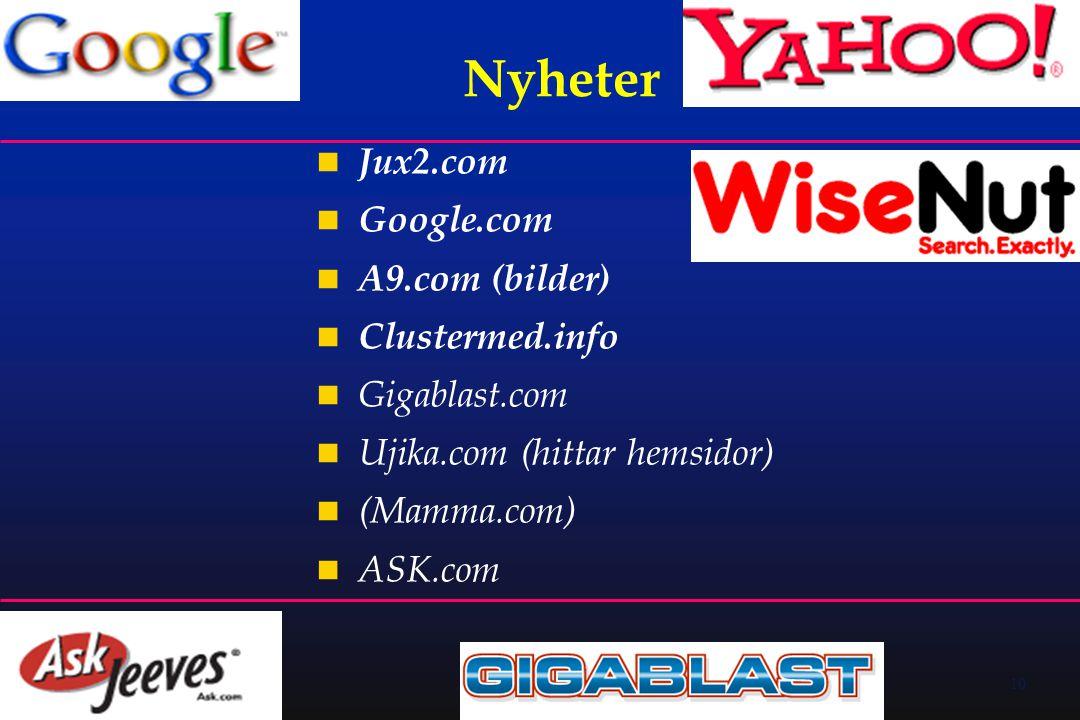 10 Nyheter  Jux2.com  Google.com  A9.com (bilder)  Clustermed.info  Gigablast.com  Ujika.com (hittar hemsidor)  (Mamma.com)  ASK.com