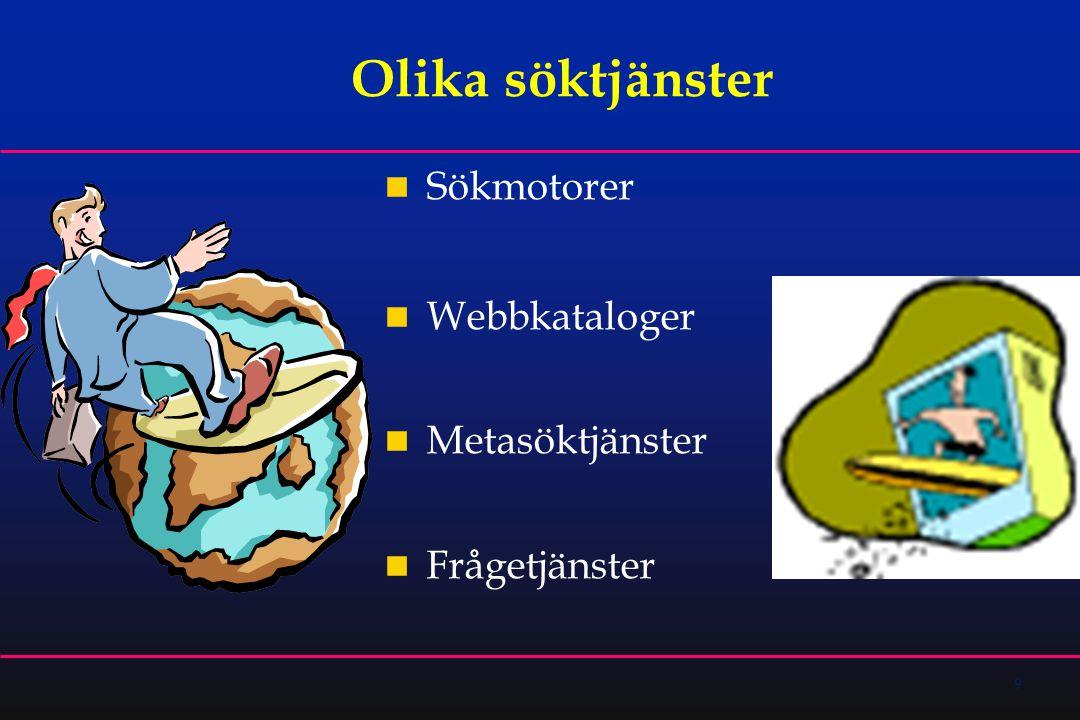 9 Olika söktjänster  Sökmotorer  Webbkataloger  Metasöktjänster  Frågetjänster