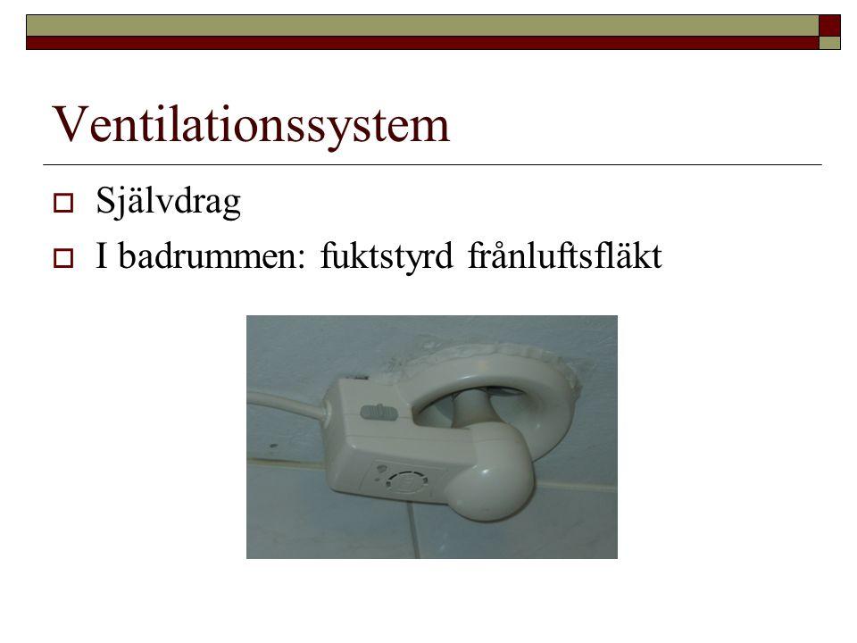 Ventilationssystem  Självdrag  I badrummen: fuktstyrd frånluftsfläkt