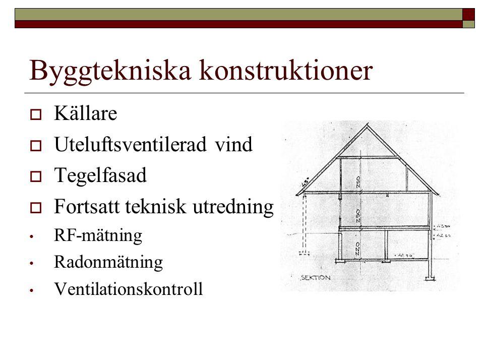Byggtekniska konstruktioner  Källare  Uteluftsventilerad vind  Tegelfasad  Fortsatt teknisk utredning • RF-mätning • Radonmätning • Ventilationskontroll