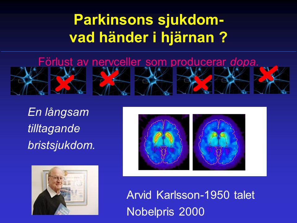 Akut toxiskt konfusionstillstånd Här måste man överväga vad som kan vara triggande orsak: •Parkinsonmedicineringen.