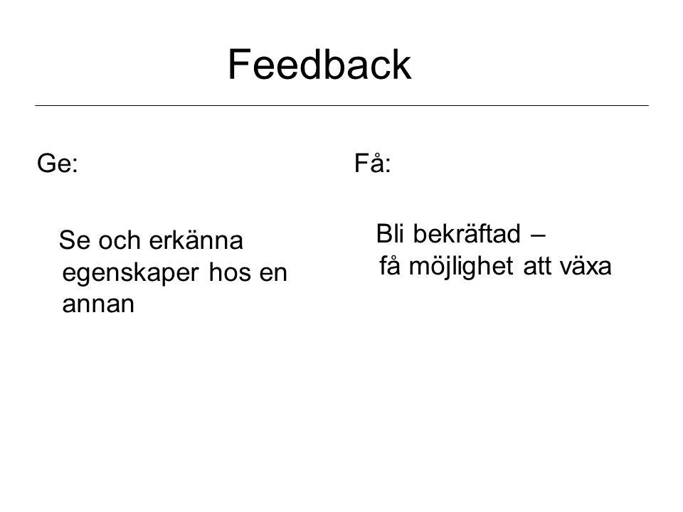 Feedback Ge: Se och erkänna egenskaper hos en annan Få: Bli bekräftad – få möjlighet att växa