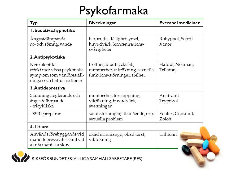 RIKSFÖRBUNDET FRIVILLIGA SAMHÄLLSARBETARE (RFS) Psykofarmaka TypBiverkningarExempel mediciner 1. Sedativa, hypnotika Ångestdämpande, ro- och sömngivan
