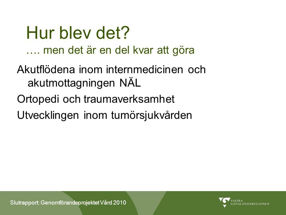 Slutrapport: Genomförandeprojektet Vård 2010 Hur blev det.
