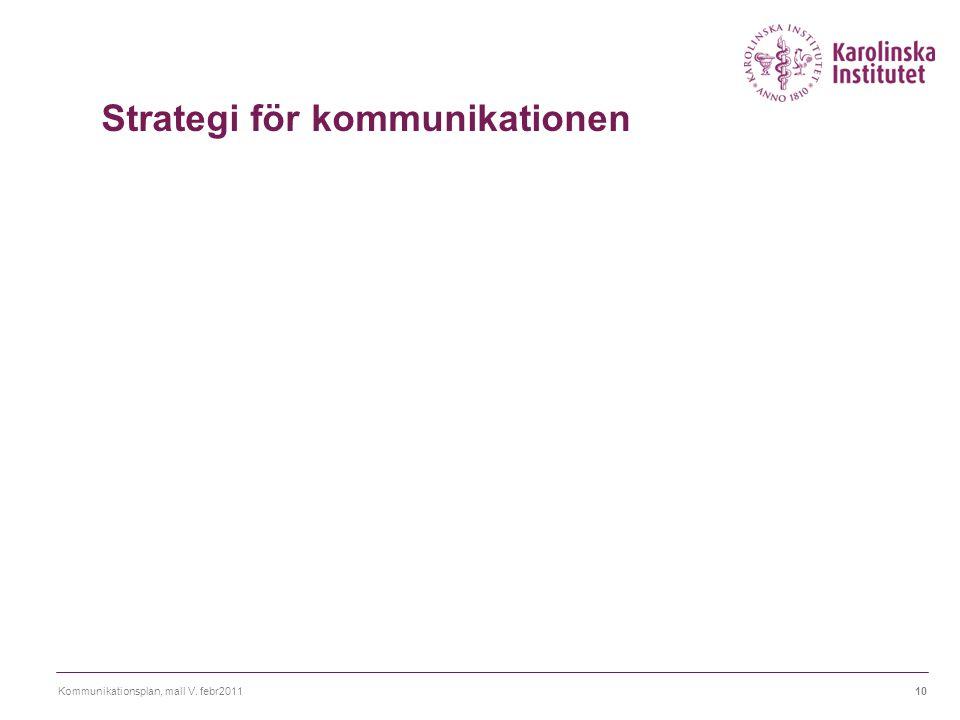 Kommunikationsplan, mall V. febr201110 Strategi för kommunikationen