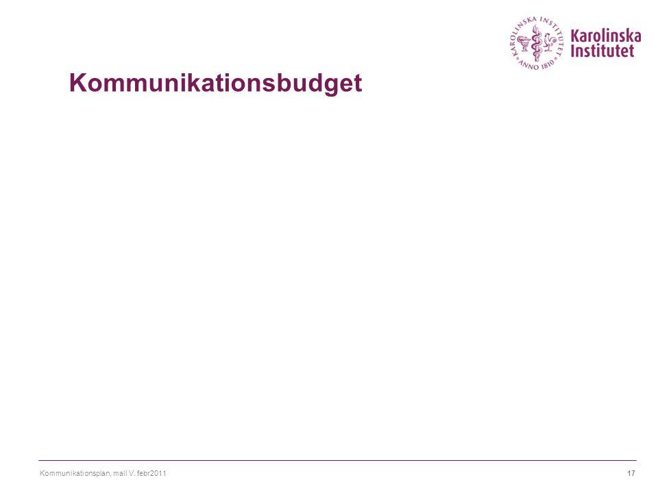 Kommunikationsplan, mall V. febr201117 Kommunikationsbudget