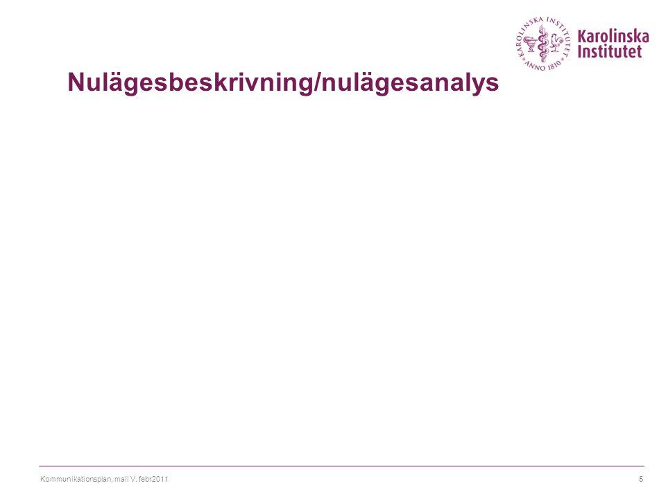 Kommunikationsplan, mall V. febr20115 Nulägesbeskrivning/nulägesanalys