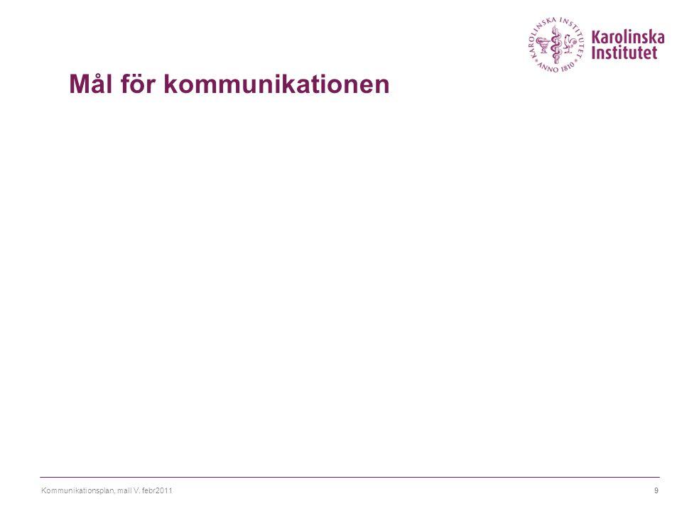 Kommunikationsplan, mall V. febr20119 Mål för kommunikationen