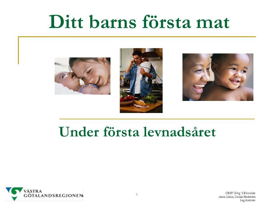 1 CBHV Gbg/S Bohuslän Anna Melin, Cecilia Hedström Leg dietister Ditt barns första mat Under första levnadsåret