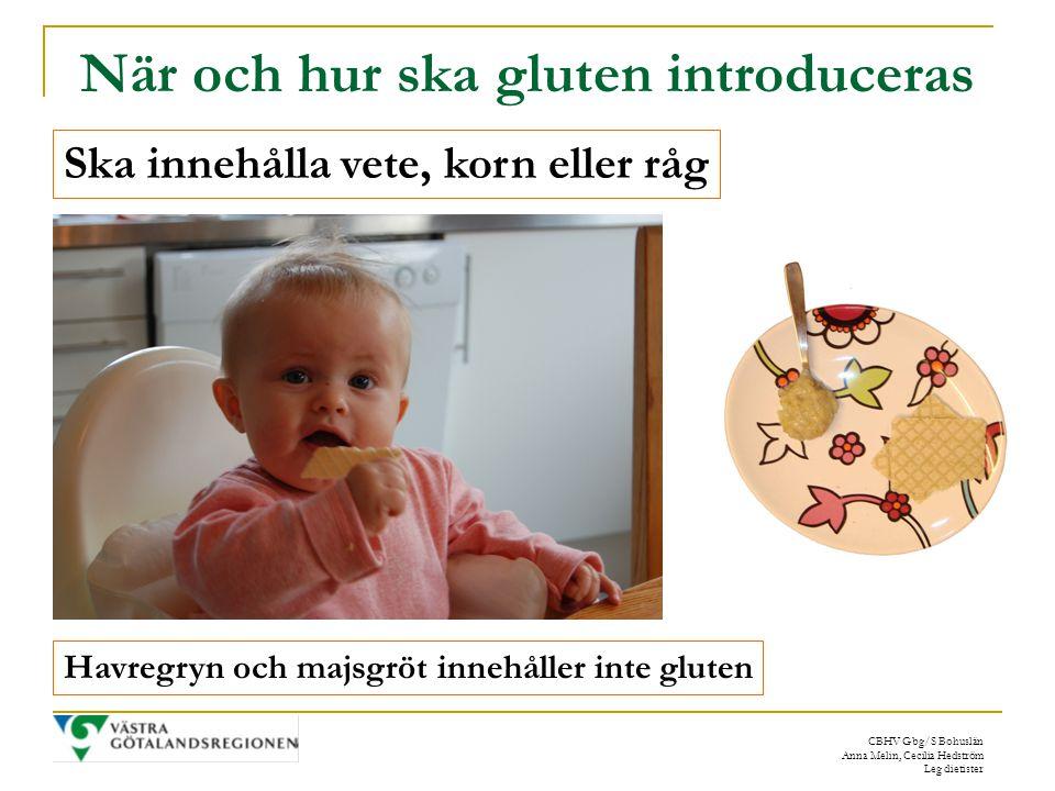 CBHV Gbg/S Bohuslän Anna Melin, Cecilia Hedström Leg dietister När och hur ska gluten introduceras Ska innehålla vete, korn eller råg Havregryn och majsgröt innehåller inte gluten