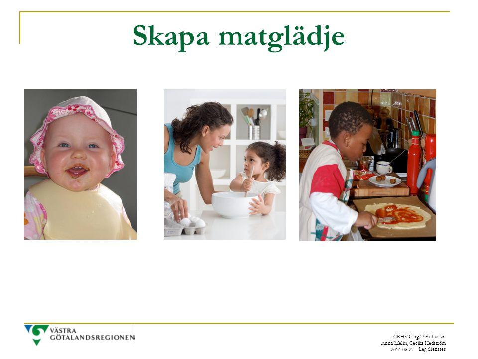 CBHV Gbg/S Bohuslän Anna Melin, Cecilia Hedström Leg dietister 2014-06-27 Skapa matglädje