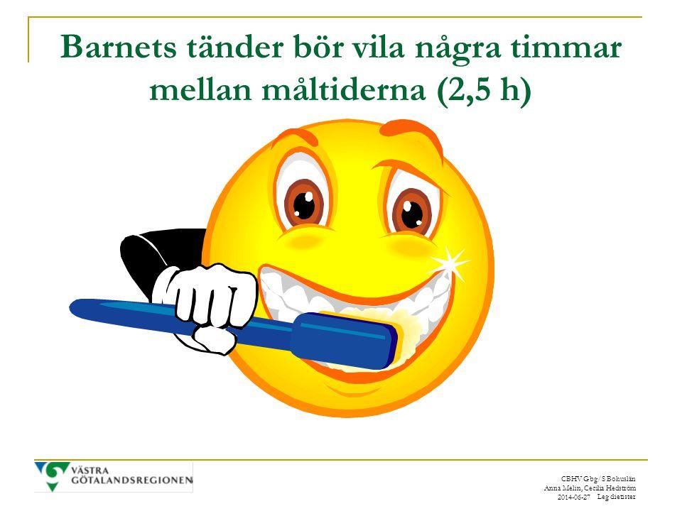 CBHV Gbg/S Bohuslän Anna Melin, Cecilia Hedström Leg dietister 2014-06-27 Barnets tänder bör vila några timmar mellan måltiderna (2,5 h)