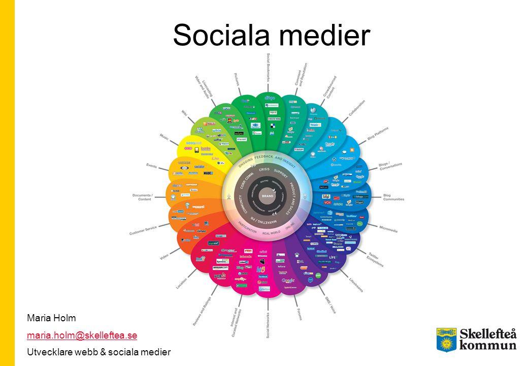Sociala medier Maria Holm maria.holm@skelleftea.se Utvecklare webb & sociala medier