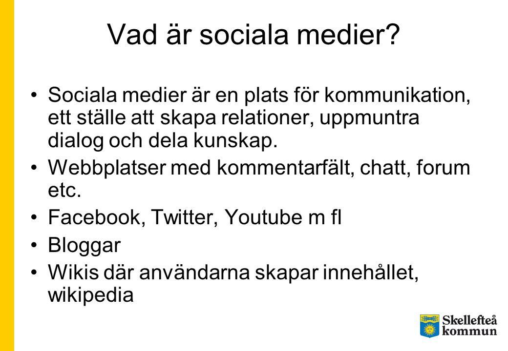 Vad är sociala medier? •Sociala medier är en plats för kommunikation, ett ställe att skapa relationer, uppmuntra dialog och dela kunskap. •Webbplatser