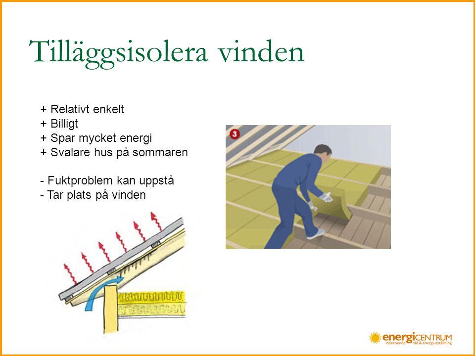 Tilläggsisolera vinden + Relativt enkelt + Billigt + Spar mycket energi + Svalare hus på sommaren - Fuktproblem kan uppstå - Tar plats på vinden