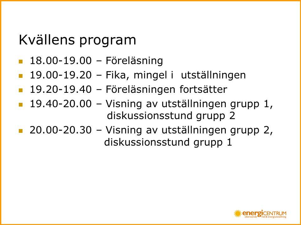 Kvällens program  18.00-19.00 – Föreläsning  19.00-19.20 – Fika, mingel i utställningen  19.20-19.40 – Föreläsningen fortsätter  19.40-20.00 – Visning av utställningen grupp 1, diskussionsstund grupp 2  20.00-20.30 – Visning av utställningen grupp 2, diskussionsstund grupp 1