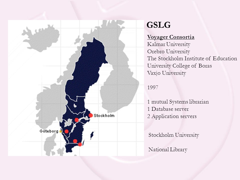 GSLG Voyager Consortia Kalmar University Orebro University The Stockholm Institute of Education University College of Boras Vaxjo University 1997 1 mutual Systems librarian 1 Database server 2 Application servers Stockholm University National Library