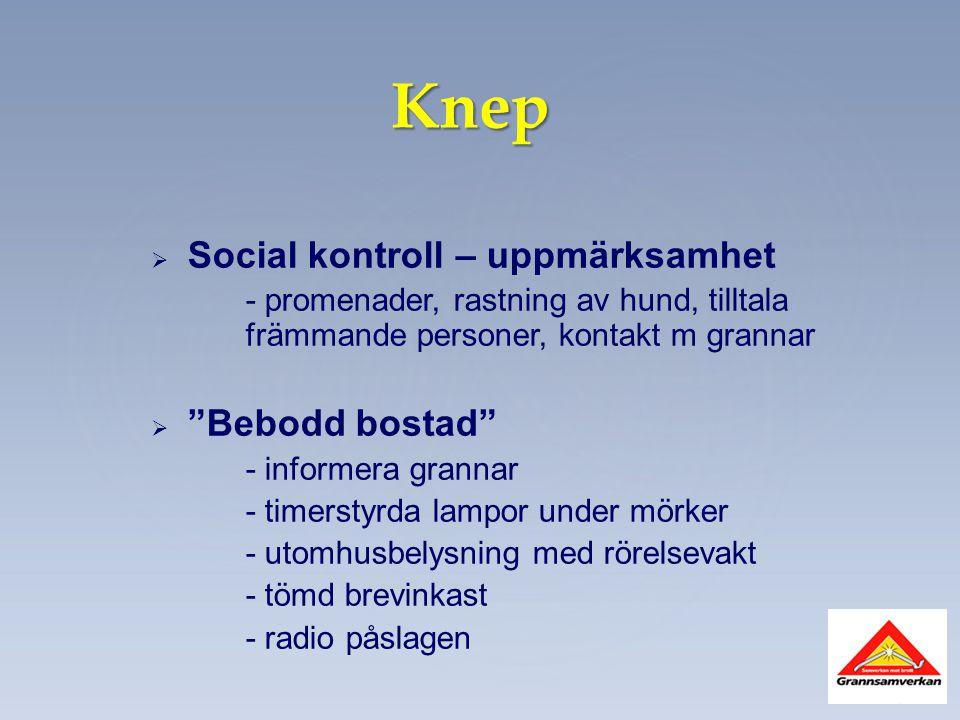 """Knep   Social kontroll – uppmärksamhet - promenader, rastning av hund, tilltala främmande personer, kontakt m grannar   """"Bebodd bostad"""" - informer"""
