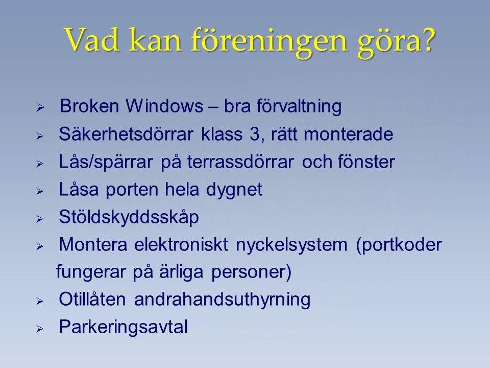   Broken Windows – bra förvaltning   Säkerhetsdörrar klass 3, rätt monterade   Lås/spärrar på terrassdörrar och fönster   Låsa porten hela dyg