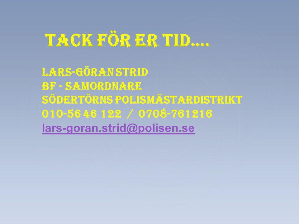 Tack för er tid…. Lars-Göran Strid Bf - samordnare Södertörns polismästardistrikt 010-56 46 122 / 0708-761216 lars-goran.strid@polisen.se