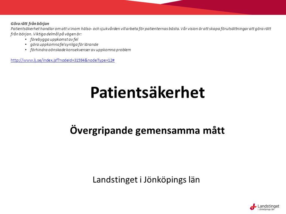 Patientsäkerhet Övergripande gemensamma mått Landstinget i Jönköpings län Göra rätt från början Patientsäkerhet handlar om att vi inom hälso- och sjukvården vill arbeta för patienternas bästa.