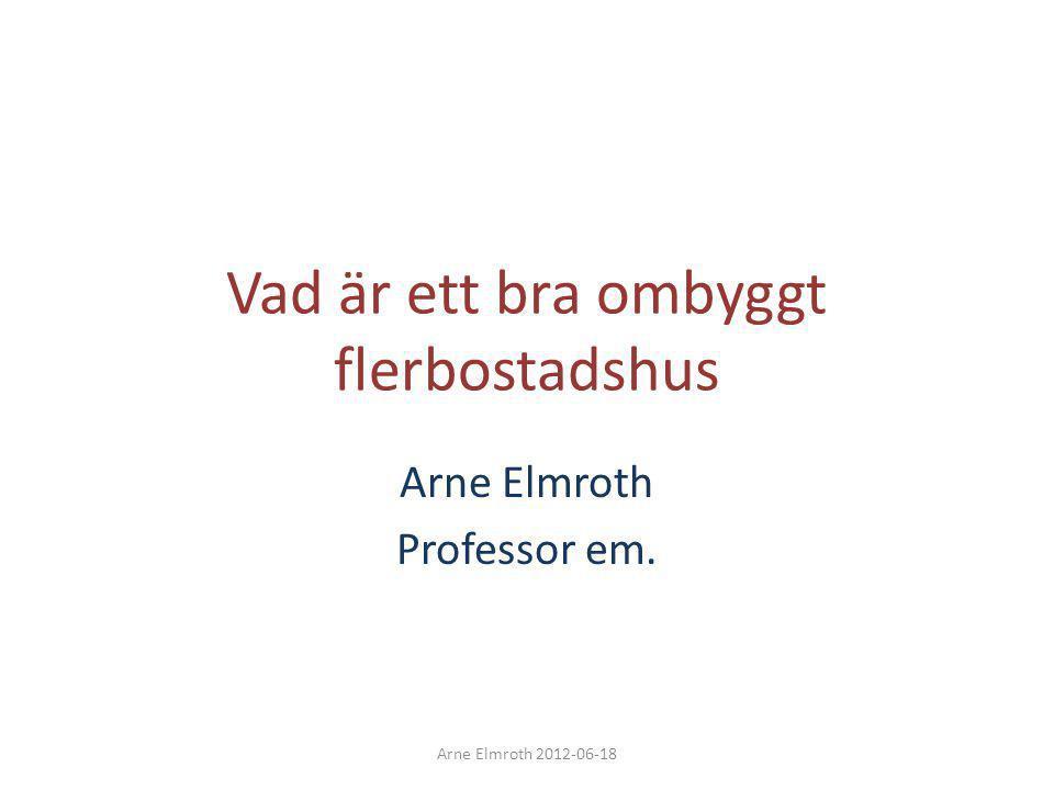 Det är ett mycket omfattande renoveringsarbete som behövs • Energieffektiviseringsåtgärder år de åtgärder som direkt leder till minskade driftskostnader • Energieffektivisering är en bra försäkring mot ständigt stigande energipriser Det blir dyrare ju längre vi väntar med att göra åtgärder Arne Elmroth 2012-06-18