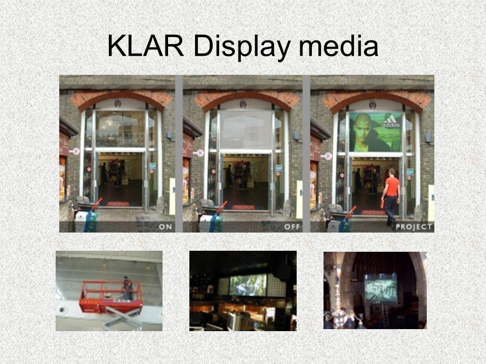 KLAR Display media En ny kanal för marknadsföring Som är helt nyskapande i sitt budskaps format Från ide till färdigt koncept har vi allt från materia