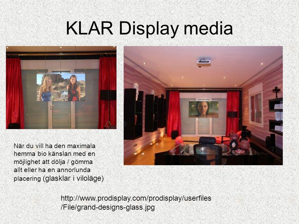 KLAR Display media •Grand Design, TV programmet om Arkitektur •APPLIKATIONER De mest framträdande applikationer för våra LCD Glas och film: · Sekretess / Säkerhet Windows · Elektro-optiska enheter · High Definition projektionsduk Elektriska ljus televäxlar och vision kontroll bröstning: · Partitioner · Sekretess Windows · Panels · Dividers · Screens · Gardiner & dörrar · Utställning / presentation skärm · Informations skärm •Följande är exempel på applikationer: · Avskärmingsglas för hem och kontor · Gardiner / Privacy Panel för lokaler · Rear Projektorduk av konferensen / utbildning· · · Lokaler för byggnader och kontor · Ljus kontrollerade fönster · Skylight och informations paneler · Externa fönster för badrum, kök, vardagsrum · Takfönster / takluckor · Säkerhet fläktstyrning · Säkerhet / Security partitioner · Counter / Display Windows · Rums avdelare · Informations Display i glas · Marknadsföring / Reklam skyltning · Skärmar och displayer för hotell / barer / klubbar · LCD paneler i dörrar · Omklädningsrum i dörrar och skåp · Badrum / relaxrum avdelare · Säkerhetsfönster för banker / Casinos / Juvelerare · Växlingskontor & skyltskåp · Provhytter dörrar · Avskärmnings paneler i fordon · Säkerhet Skiljeväggar mellan förare och passagerare (Taxi / Limousine)