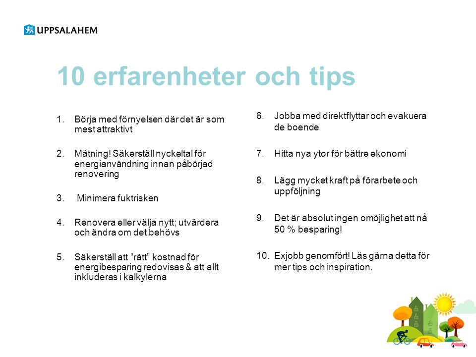 10 erfarenheter och tips 6.Jobba med direktflyttar och evakuera de boende 7.Hitta nya ytor för bättre ekonomi 8.Lägg mycket kraft på förarbete och upp