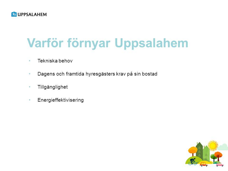 Varför förnyar Uppsalahem •Tekniska behov •Dagens och framtida hyresgästers krav på sin bostad •Tillgänglighet •Energieffektivisering