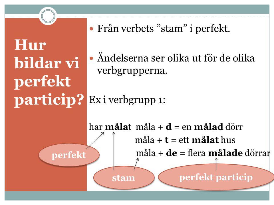 Hur bildar vi perfekt particip. Från verbets stam i perfekt.
