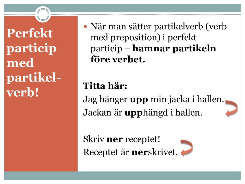 Perfekt particip med partikel- verb.