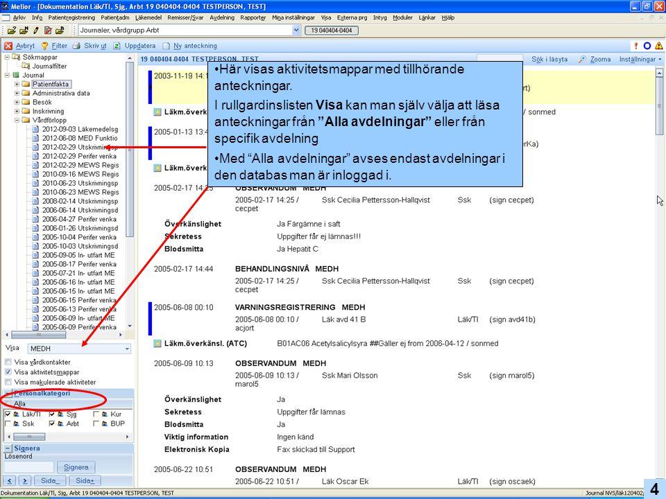 Tillfälligt byte av personalkategori görs i navigationsfönstret.