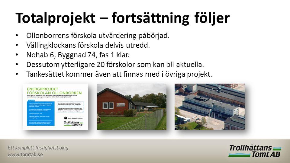 Totalprojekt – fortsättning följer • Ollonborrens förskola utvärdering påbörjad.