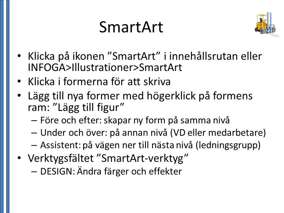 """SmartArt • Klicka på ikonen """"SmartArt"""" i innehållsrutan eller INFOGA>Illustrationer>SmartArt • Klicka i formerna för att skriva • Lägg till nya former"""