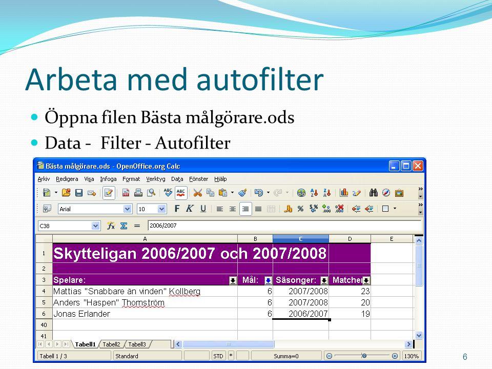 Arbeta med autofilter  Öppna filen Bästa målgörare.ods  Data - Filter - Autofilter Copyright 2011 Mahmud Al Hakim www.dynamicos.se6