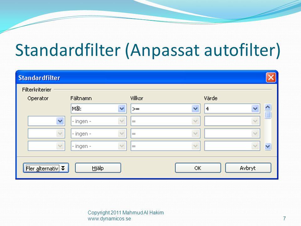 Standardfilter (Anpassat autofilter) Copyright 2011 Mahmud Al Hakim www.dynamicos.se7