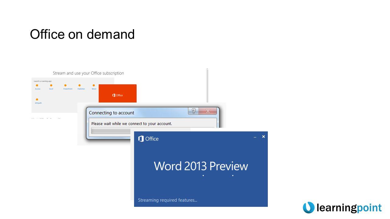 Ny känsla  Metro (nej just det, inte Metro utan Windows Store och Windows Phone Store)  De unika färgerna för Officeapplikationerna blir tydligare  Vitt på vitt (med dekor)  Bättre stöd för koppling till molnlagringsplatser (pref MS egna)  Startupplevelse