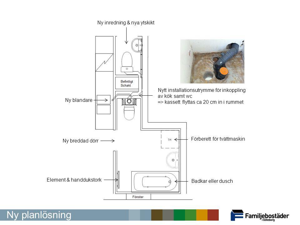 Nytt installationsutrymme för inkoppling av kök samt wc => kassett flyttas ca 20 cm in i rummet Ny breddad dörr Förberett för tvättmaskin Badkar eller