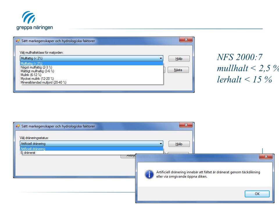 NFS 2000:7 mullhalt < 2,5 % lerhalt < 15 %