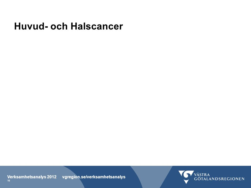 Huvud- och Halscancer Verksamhetsanalys 2012 vgregion.se/verksamhetsanalys 16