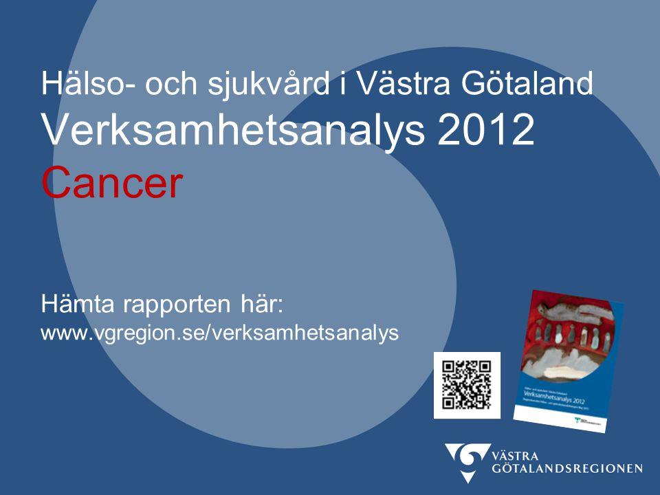 Indikator: Andel patienter med tumörstadium IIIA och IIIB i performance status 0-1 som får kurativt syftande kemoradioterapi Verksamhetsanalys 2012 vgregion.se/verksamhetsanalys 27 Fig.