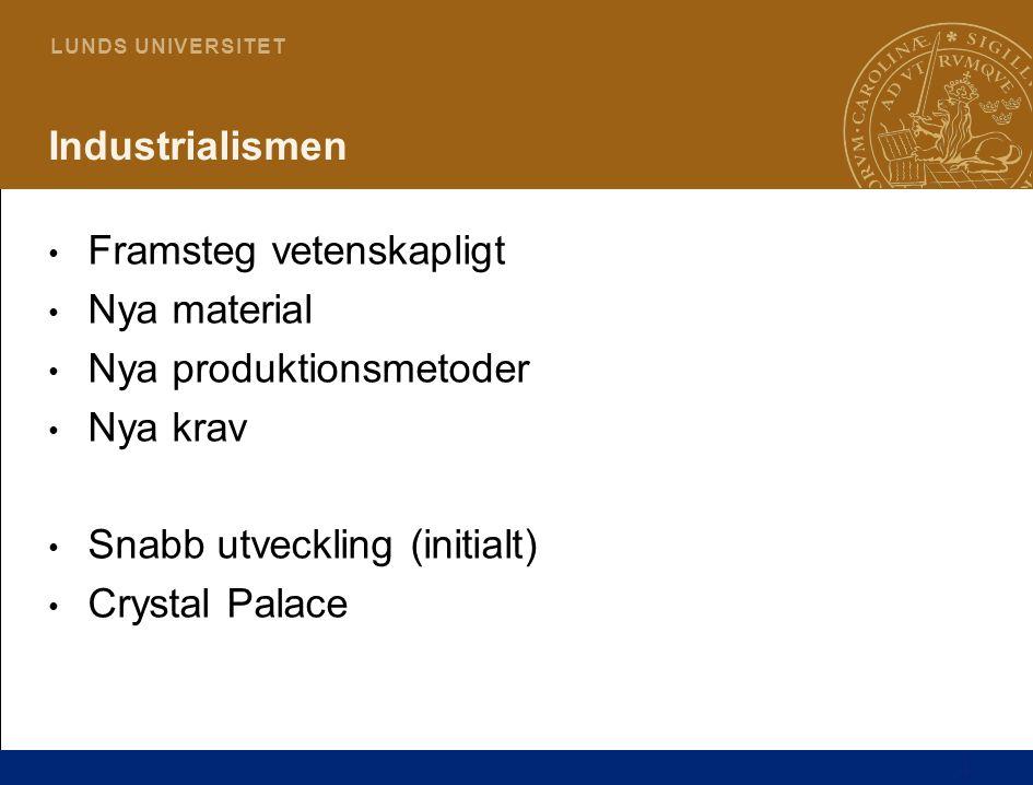 4 L U N D S U N I V E R S I T E T Industrialismen • Framsteg vetenskapligt • Nya material • Nya produktionsmetoder • Nya krav • Snabb utveckling (initialt) • Crystal Palace