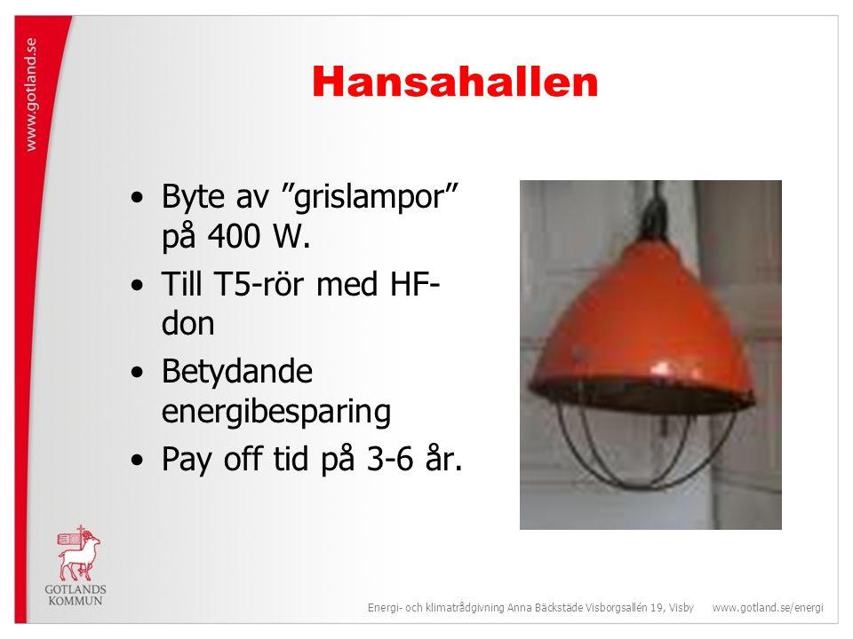 Hansahallen •Byte av grislampor på 400 W.