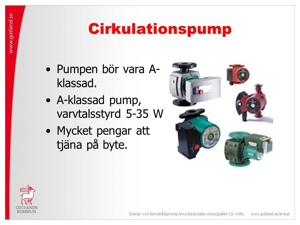Cirkulationspump •Pumpen bör vara A- klassad.