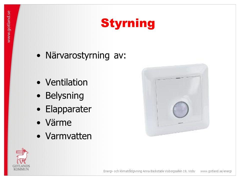 Ventilation Ska bara användas när den behövs.