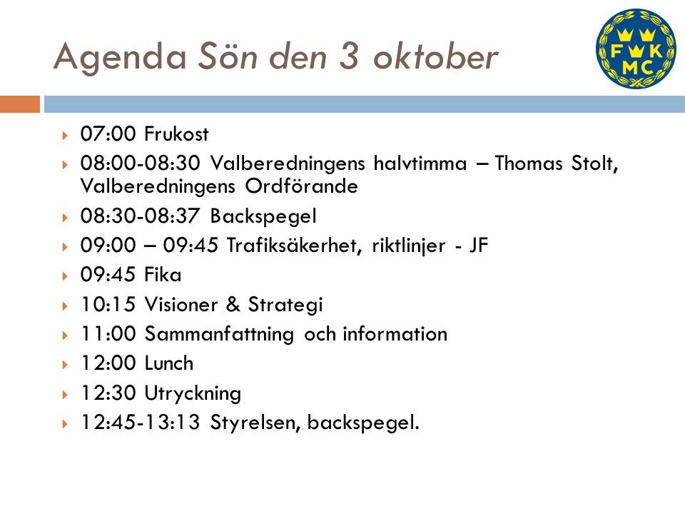  07:00 Frukost  08:00-08:30 Valberedningens halvtimma – Thomas Stolt, Valberedningens Ordförande  08:30-08:37 Backspegel  09:00 – 09:45 Trafiksäkerhet, riktlinjer - JF  09:45 Fika  10:15 Visioner & Strategi  11:00 Sammanfattning och information  12:00 Lunch  12:30 Utryckning  12:45-13:13 Styrelsen, backspegel.