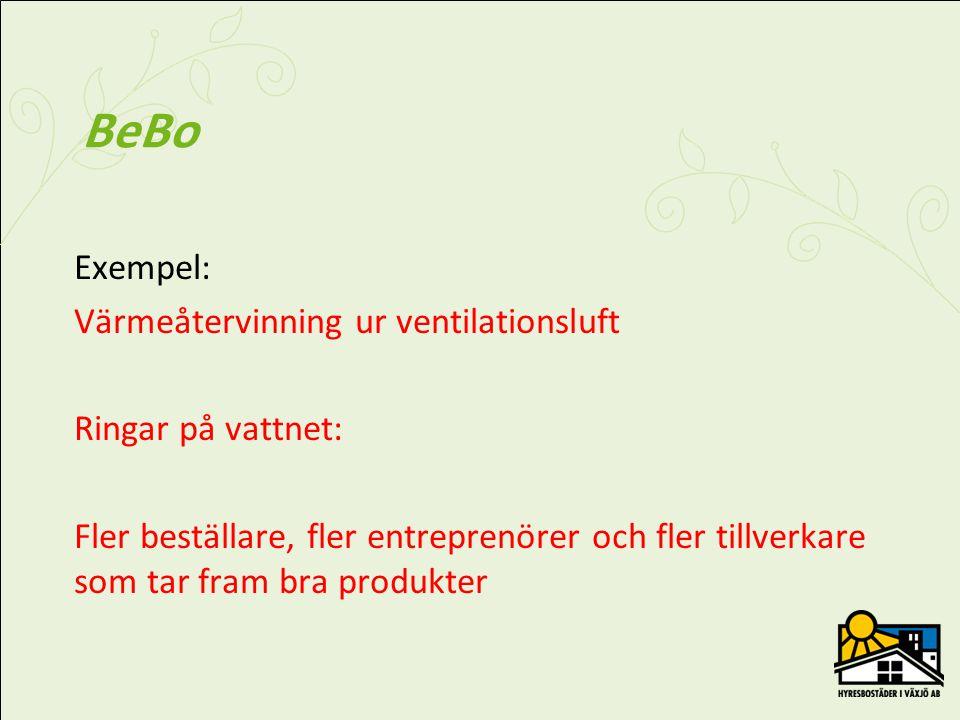 BeBo – Projekt Rekorderlig renovering •Mål – halvera behovet av köpt energi •Projektet inriktat på miljonprogrammet •Stort antal, upprepning •Minst 5 demoprojekt •Redovisning på BeBos hemsida